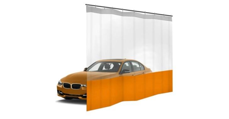 Шторы ПВХ для автомойки с окном, цвет оранжевый 1м³